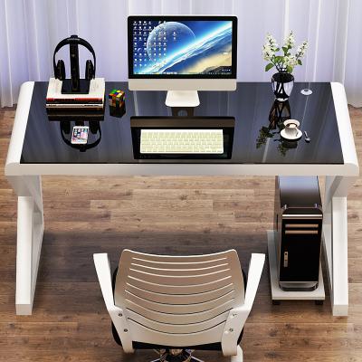 電腦臺式桌家用 簡約現代經濟型書桌 簡易鋼化玻璃電腦桌學習桌子