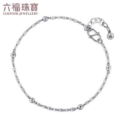六福珠宝 PT950 铂金手链圆珠十字相连链白金手链计价L06TBPB0004