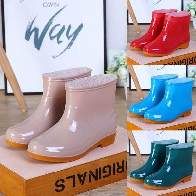 韓版時尚雨鞋女水鞋短筒防滑雨靴水靴成人廚房洗車膠鞋 威珺