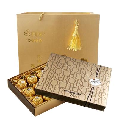 費列羅(Ferrero Rocher)榛果威化巧克力15粒禮盒七夕情人節生日禮物婚慶喜糖果(含拎袋)