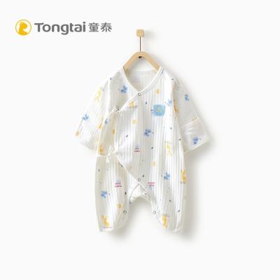 童泰秋款新生儿纯棉蝴蝶哈衣0-3个月男女宝宝系带连体衣婴儿爬服