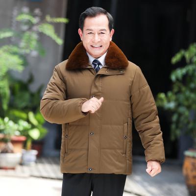 公牛歡騰2020新款中老年棉衣男冬季加絨加厚棉服老人爺爺棉襖爸爸冬裝外套