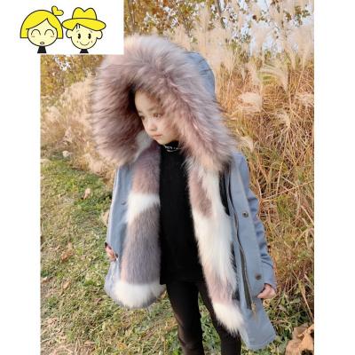 派克服女2019冬季新款可拆卸仿皮内胆儿童宝宝棉服洋气女童外套