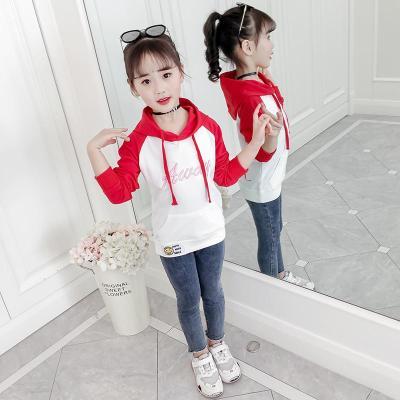 抹炫(MOXUAN)女童連帽衛衣春秋裝2019新款中大兒童洋氣上衣女孩長袖T恤打底衫