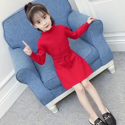 女童中长款毛衣2018新款中大童韩版针织衫套头春秋冬季洋气连衣裙