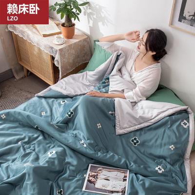 賴床臥(LZO)家紡 夏涼被 水洗仿真絲空調被 學生薄被子冰絲印花夏被 家用宿舍單人雙人夏被