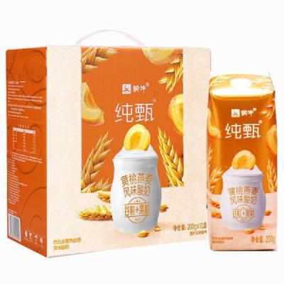 蒙牛 純甄 黃桃燕麥風味酸牛奶200g*10盒 (新老包裝,隨機發貨)