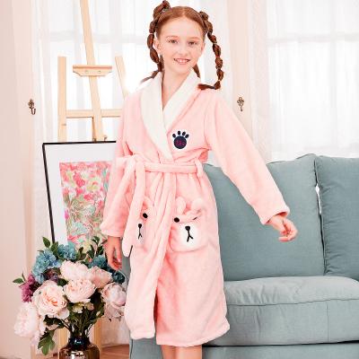 紅豆居家新款秋冬季女童法蘭絨兒童睡衣中大童加絨加厚兒童家居服寶寶小孩