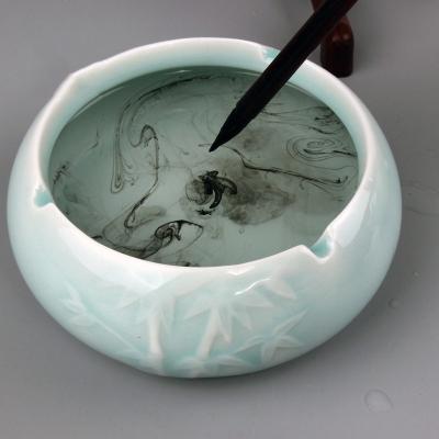 多功能修笔锋开口笔洗 荷花陶瓷创意笔洗