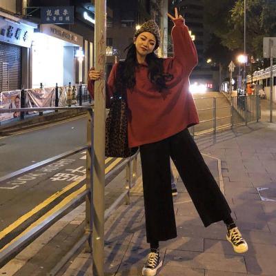 雪千羽闊腿褲學生韓版chic褲子女運動寬松顯瘦高腰直筒九分西裝休閑褲