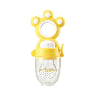 纽因贝 果蔬咬咬乐 黄色(单个装+加赠咬袋3只) 婴儿牙胶磨牙棒硅胶牙咬胶宝宝安抚奶嘴磨牙器玩具