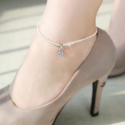 925銀珍珠腳鏈女 韓版氣質簡約學生森系腳踝鏈閨蜜個性送女友清新