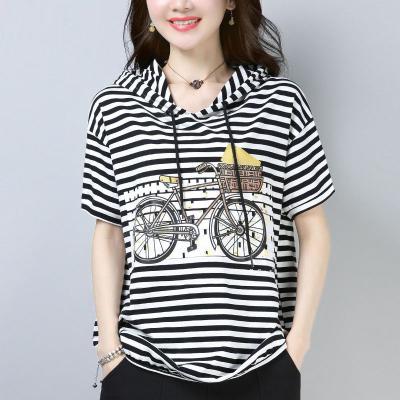 芷臻zhizhen95棉短袖T恤女2020新款夏裝衛衣寬松條紋連帽上衣休閑打底衫女
