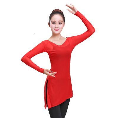 因樂思(YINLESI)古典舞練功服女裝瑜伽舞蹈紗衣舞蹈練功服彈力網上衣演出服