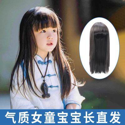兒童假發女公主寶寶造型全頭長發頭飾女童拍照仿真發套可愛長直發
