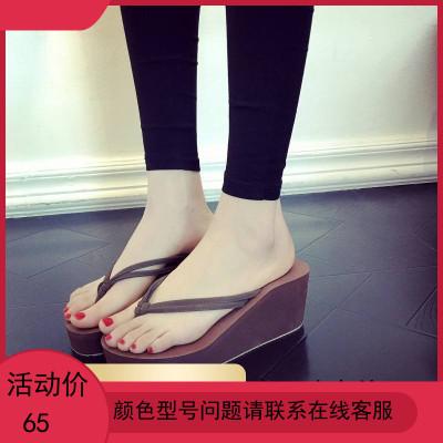 人字拖女沙滩坡跟凉拖时尚外穿高跟夹脚拖松糕厚底防滑夏季拖鞋女