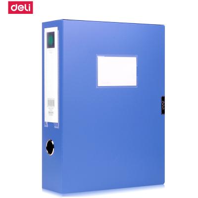得力(deli)5604大号档案盒 A4 4寸宽厚资料盒文件盒档案办公用品蓝色单个装