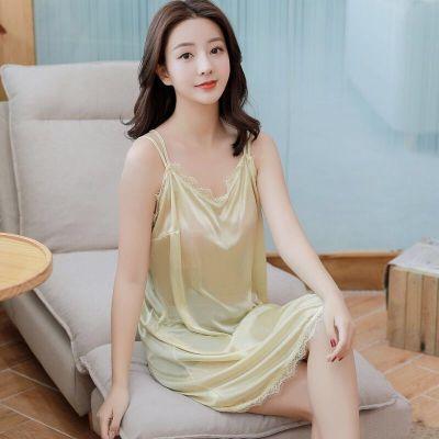 品彩(PinCai)冰絲睡衣女夏性感吊帶背心新款絲綢女士大碼寬松薄款睡裙家居服