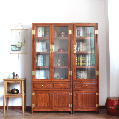 邁菲詩新中式香樟全實木書柜帶玻璃展示單個雙組合書房文件儲物櫥子