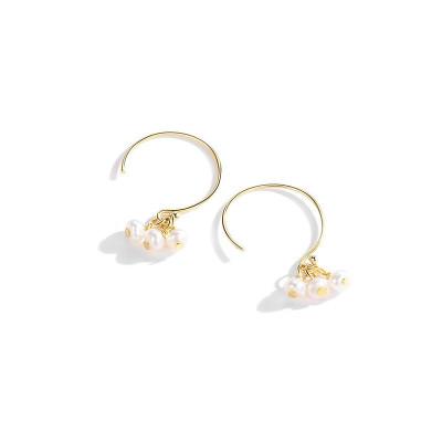 法蔻輕奢品牌耳環女銀珍珠甜美香檳色耳墜簡約氣質個性短款耳鉤飾品生日情人節送女友