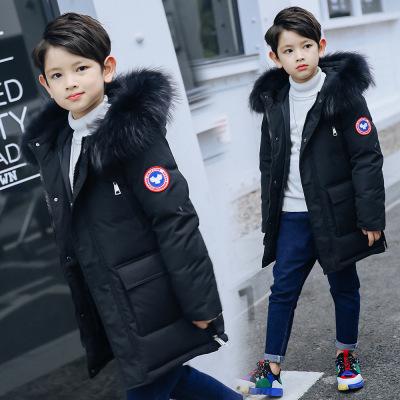 Amyoung儿童羽绒服2019冬季男童中长款加厚大毛领大童羽绒服棉服婴童棉服/羽绒服儿童外套
