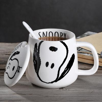 SNOOPY史努比馬克杯SNP5012-1陶瓷馬克杯家用帶蓋勺可愛水杯女創意個性潮流情侶咖啡杯子