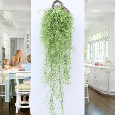 米魁仿真花藤條花藤假花絹花金鐘柳壁掛客廳空調管道墻面裝飾室內植物 銀色 綠蘿兩支(送籃