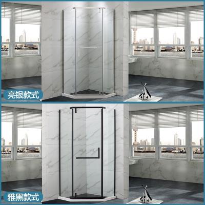 曼淋浴房钻石形整体浴室干湿分离隔断钢化玻璃门不锈钢洗浴房 900*900镜光 不含蒸汽
