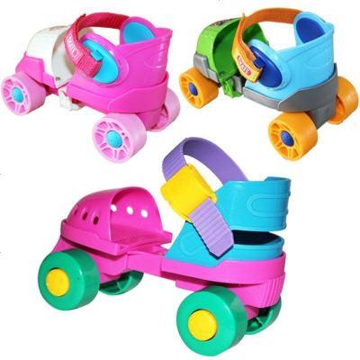 儿童初学者双排轮溜冰鞋宝宝四轮旱冰鞋滑冰鞋男女轮滑鞋可调大小