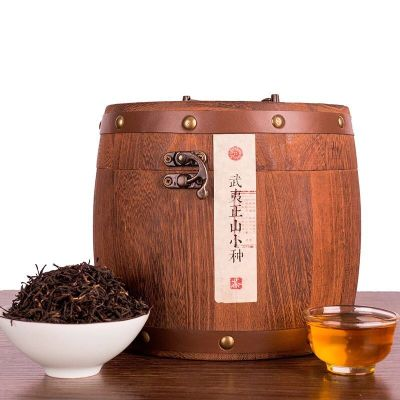 福崗 新茶品質武夷山正山小種紅茶茶葉罐裝大份量禮盒木桶散裝