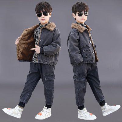 童装男童秋冬套装2019新款儿童加绒加厚牛仔两件套男孩中大童冬装威珺