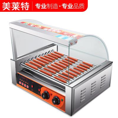 美萊特YXD-10臺灣香腸機全自動雙溫控熱狗機小型商用10管烤腸機 10管帶門帶架子