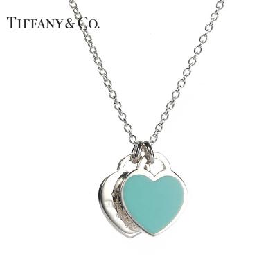Tiffany&Co.:蒂芙尼經典款藍色琺瑯雙心項鏈S925銀(多種鏈長可選)