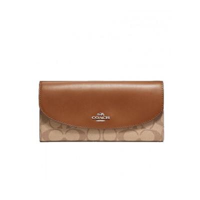 COACH 蔻驰女包 女士钱包 女士信封钱包 拼接色logo款 多卡位大容量卡包 横款 PVC F54022