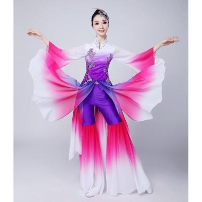 古典舞演出服裝女成人飄逸扇子舞傘舞秧歌服民族舞蹈廣場舞表演服