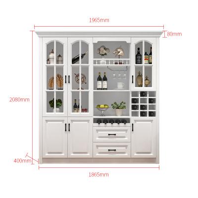 歐式酒柜靠墻多功能客廳餐邊柜閃電客櫥柜現代簡約落地式可 1965*400*2080(四門兩抽) 4門