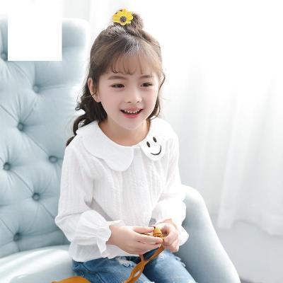 女童襯衫春裝2020新款韓版兒童白色上衣春秋小女孩洋氣娃娃領襯衣 莎丞
