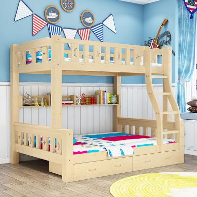凡居樂 高低子母床上下鋪實木床雙層實木雙人床兩層上下鋪成人現代簡約多功能大人木質子母床全實木小戶型宿舍床木床