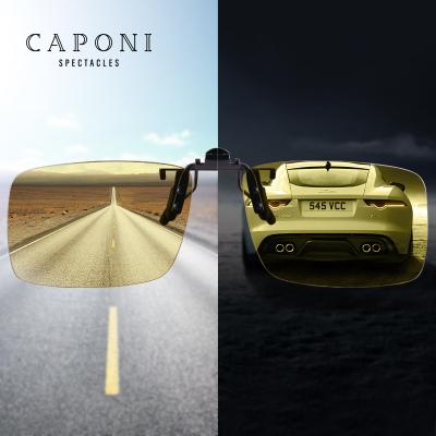 Caponi变色夜视眼镜夹片近视开车专用太阳镜男通用防远光灯日夜两用司机驾驶女无框 PC镜片