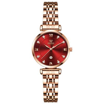 新款歐利時手表女士鑲鉆石英表瑞士品牌玫瑰金ins風小眾女士手表精鋼防水時尚裝飾腕表