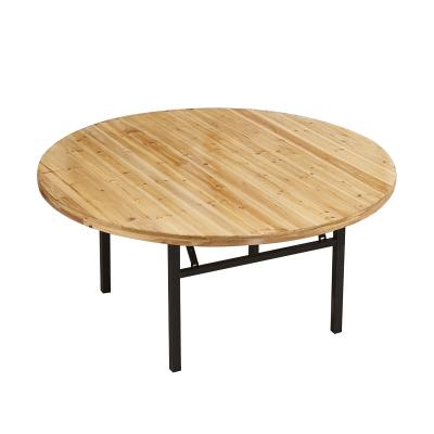 鑫金虎 酒店圆桌餐厅圆桌可折叠餐桌家用餐桌实木杉木折叠圆台可定制