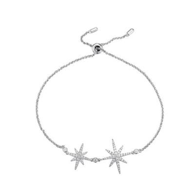 APM MONACO 女士 八芒星造型S925純銀時尚飾品鑲晶鉆雙流星銀手鏈 AB3325OX