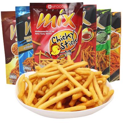 泰國進口零食VFOODS MIX脆脆條75g*6包香辣網紅蝦條膨化小吃薯條