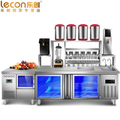 乐创(lecon) 1.8米冷藏工作台 奶茶工作台店 咖啡设备 对开卧式冷柜烘焙设备 不锈钢水吧台 奶茶点水吧台必备