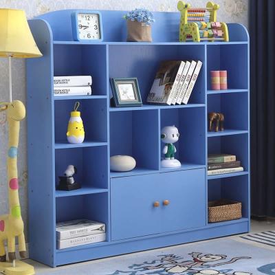 儿童书架简易学生书柜简约现代美式置物架书房书橱带门原木色白色 612款 粉红色宽120深24高122CM 1-1.2米宽