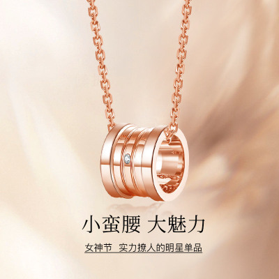 SEAZA喜鉆 小蠻腰轉運珠鉆石項鏈女鎖骨鏈潮流時尚珠寶首飾