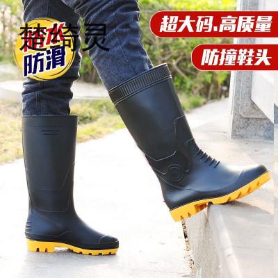 楚綺靈雨鞋男雨靴男 高筒保暖加絨水靴防水鞋大碼勞保雨鞋男雨靴男