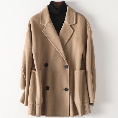 2020春新款女士雙面毛呢大衣流行時尚羊毛呢子中長款外套