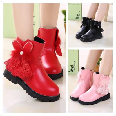 女童鞋靴子兒童短靴秋冬季2019新款棉靴公主二棉鞋加絨保暖蕾絲兔 TCVV