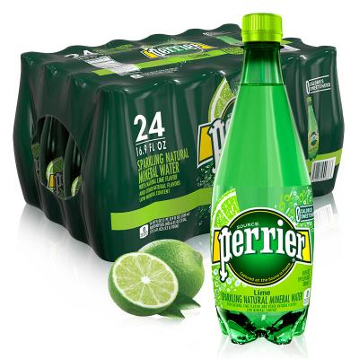 【青柠塑料瓶装】巴黎水(Perrier)天然气泡矿泉水(青柠味)塑料瓶装 500ml*24瓶/箱 进口饮用水 法国进口